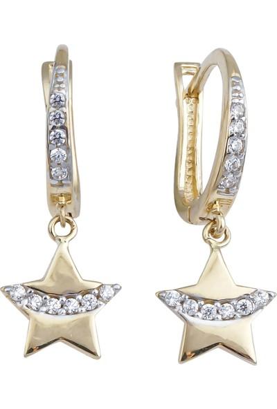 Melike Gold 14 Ayar Altın Taşlı Yıldız Küpe