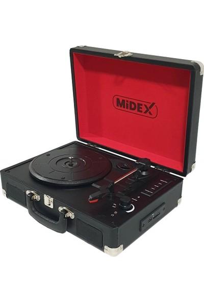 Midex Mtx-100 BK Pikap Plak Çalar ( Şarjlı + Bluetooth + Usb + Aux + PC Kayıt)