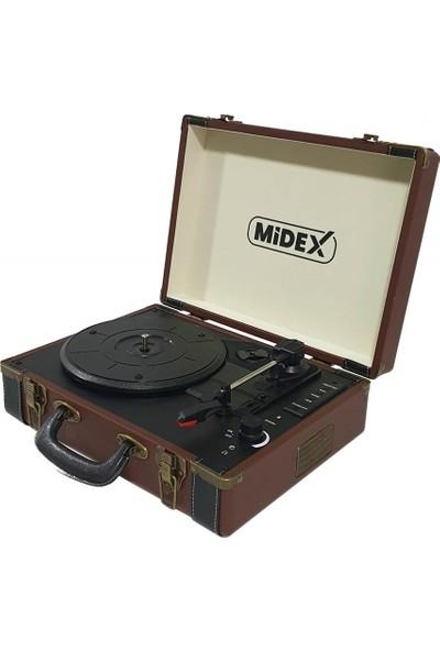Midex Mtx-100 BN Pikap Plak Çalar ( Şarjlı + Bluetooth + Usb + Aux + PC Kayıt)