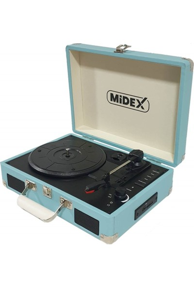 Midex Mtx-100 Blue Pikap Plak Çalar ( Şarjlı + Bluetooth + Usb + Aux + PC Kayıt)