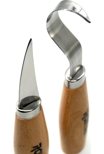 Rox Wood 4505 Ahşap Kaşık Kuksa Oyma Bıçak Seti 2 Parça