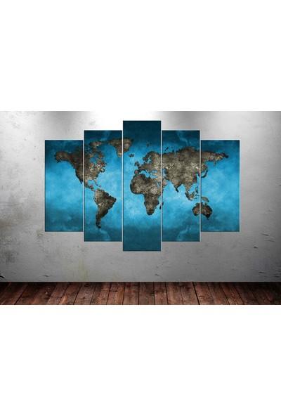 Caddeko yz16b Dünya Haritası Toprak Görünümlü Mavi Fon Dekoratif Kanvas Tablo 80 x 125cm