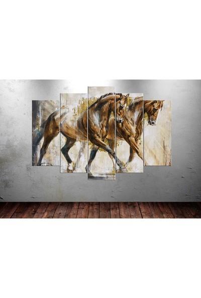 Caddeko Hrs49 Atlar 9 5 Parça Kanvas Tablo - 80 x 125 cm