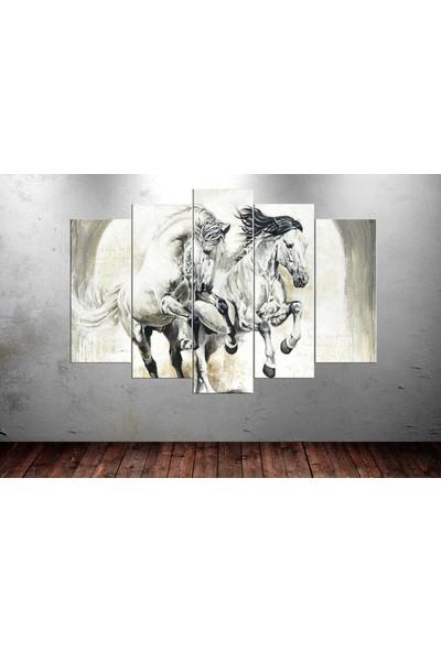 Caddeko Hrs34 Beyaz Atlar 4 5 Parça Kanvas Tablo - 80 x 125 cm