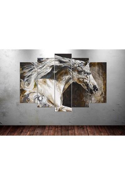 Caddeko hrs1 Beyaz At 5 Parça Kanvas Tablo 80 x 125cm