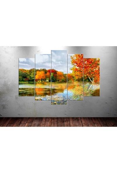 Caddeko Dkr16 Sonbahar Orman 5 Parça Kanvas Tablo - 80 x 125 cm