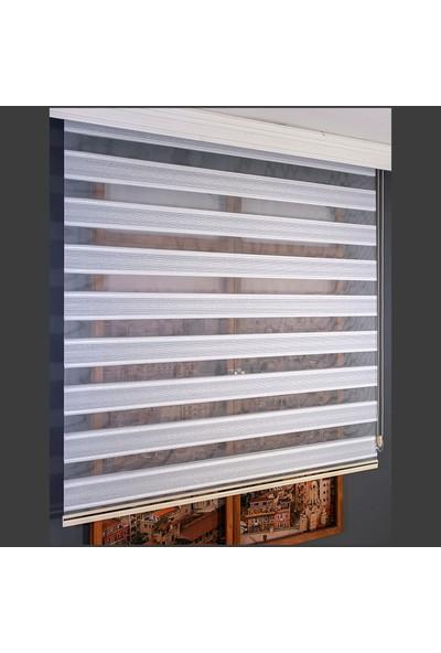 Anıper Zebra Perde Beyaz Gümüş Simli Pliseli Stor 80x200 cm