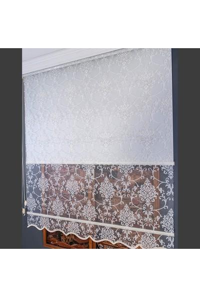 Aniper Çift Mekanizmalı Kırık Beyaz Damask Simli Tül Stor Perde 80x200 cm