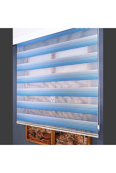 Anıper Zebra Perde Mavi Renk Geçişli Pliseli Stor 70x200 cm