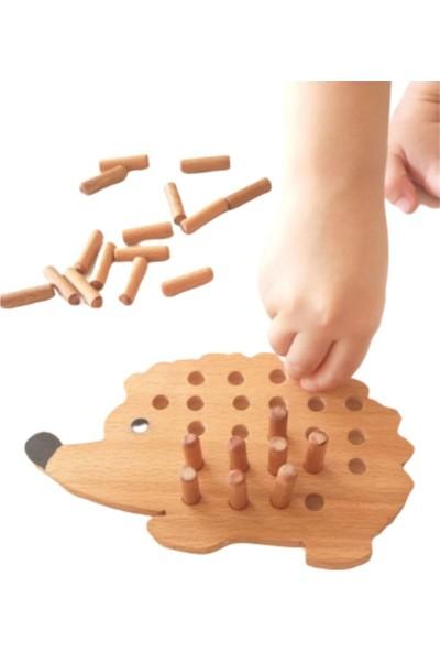 Moccotoys Montessori Tak Çıkar Ahsap Kirpi Oyunu