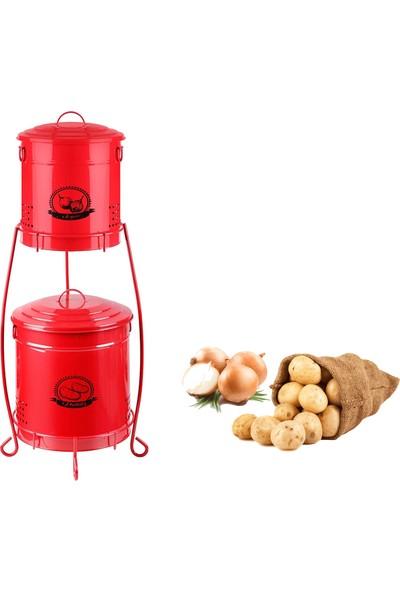 Indirimse Home Iki Katlı Patates - Soğan Saklama Kutusu Metal Kırmızı