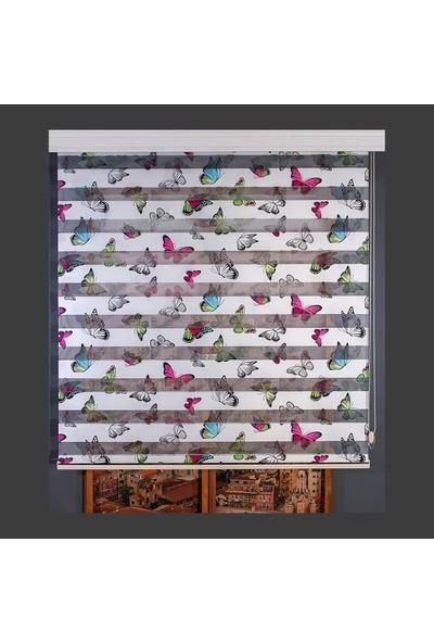 Anıper Zebra Perde Kelebek Desenli Çocuk ve Genç Odası Stor 70X200 cm