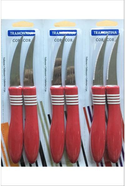 Pinkev Tramontina 6 Adet Tırtıklı Kısa Kıvrık Meyve Soyma Bıçağı