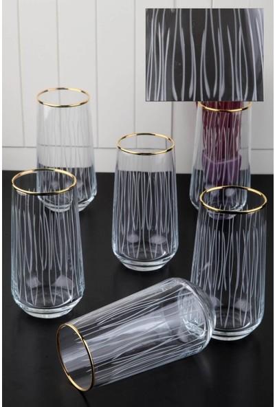 Pinkev 6 Kişilik Altın Yaldızlı Kesme Meşrubat Bardağı Seti
