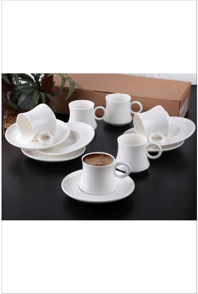 Pinkev 6'lı Sade Porselen Kahve Fincan Takımı