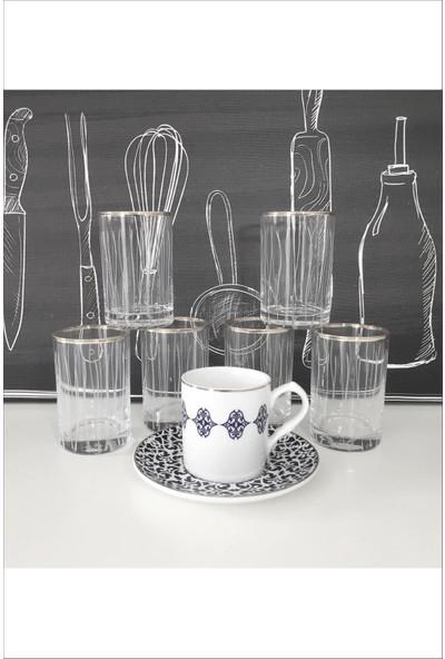 Pinkev 6'lı Gümüş Yaldızlı Kesme Kahve Yanı Mini Su Bardağı