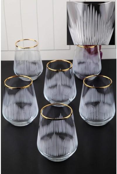 Pinkev 6 Kişilik Altın Yaldızlı Kesme Su Bardağı Seti