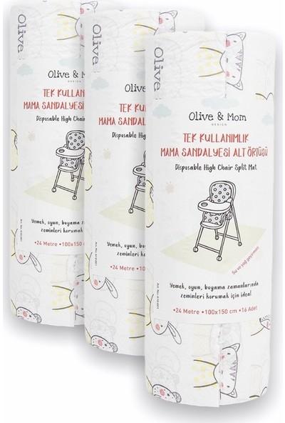 Olive & Mom Design Tek Kullanımlık Mama Sandalyesi Altı ve Aktivite Örtüsü (16 Adet) - 3'lü Paket