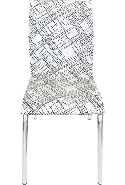 Alyhome Sandalye Kılıfı - Moderna Soft Mutfak Tipi 4'lü Set Kare Çizgili