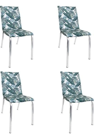 Alyhome Sandalye Kılıfı - Moderna Soft Mutfak Tipi 4'lü Set Yeşil Yaprak