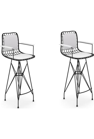 Knsz Kafes Tel Bar Sandalyesi 2 Li Zengin Syhbyz Kolçaklı Sırt Minderli Ofis Cafe Bahçe Mutfak