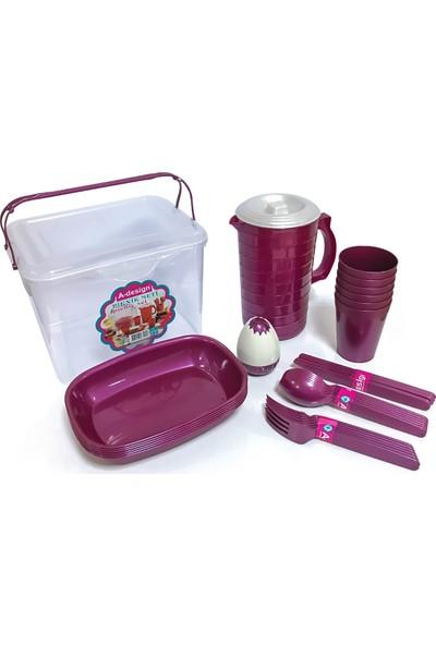 A-Design Piknik Seti 33 Parça-Violet