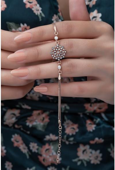 Nereze 925 Ayar Çiçek Bileklik Kadın Gümüş Bileklik