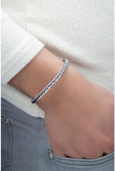 Glint Point Ayarlanabilir Rodyumlu Erkek Gümüş Bileklik