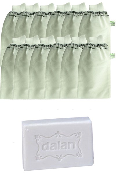Kelebek Hamam Banyo Kesesi Standart Lastikli Beyaz 12 Adet + Dalan Sultan Hamam Doğal Banyo Sabunu 200 gr
