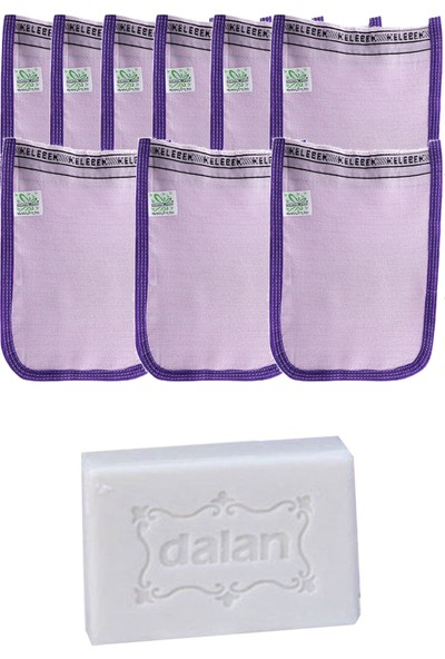 Kelebek Hamam Ince Banyo Kesesi Standart Mor 9 Adet + Dalan Sultan Hamam Doğal Banyo Sabunu 200 gr