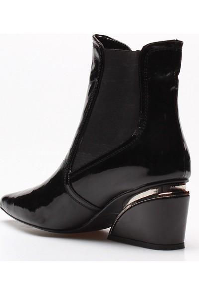 Rovigo Plus Siyah Kırışık Rugan Kadın Bot
