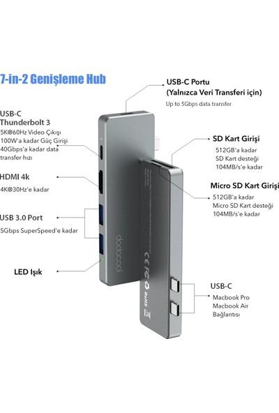 Dodocool DC69GY Alüminyum 7in2 Macbook Pro Air 4K HDMI Sd USB Hub Çoklayıcı