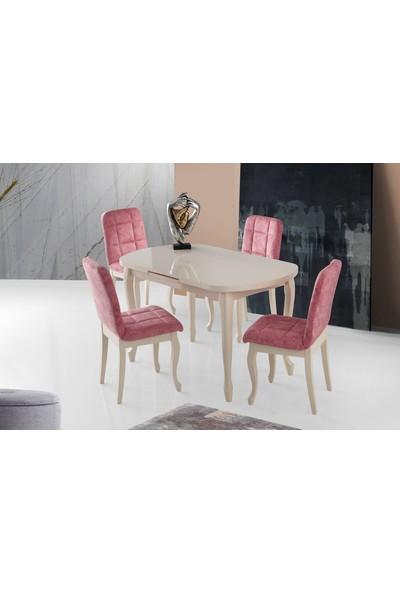 Evistro Ortadan Açılır Ahşap Salon Yemek Masası Oval Ekru+ 4 Pembe Sandalye Takım