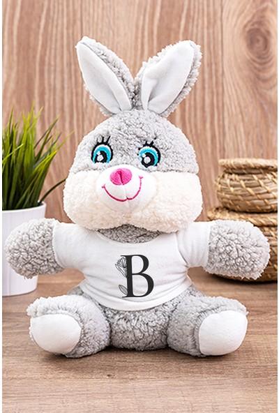 Hediye Dükkanı B Harfi Çiçekli Peluş Tavşan