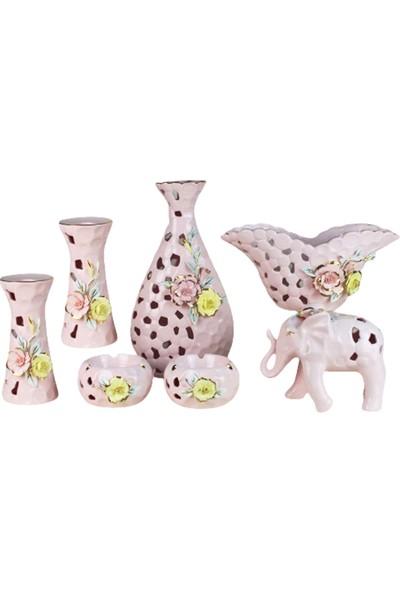 Kokosh Home Porselen 7 Parça Renkli Konsol Takımı