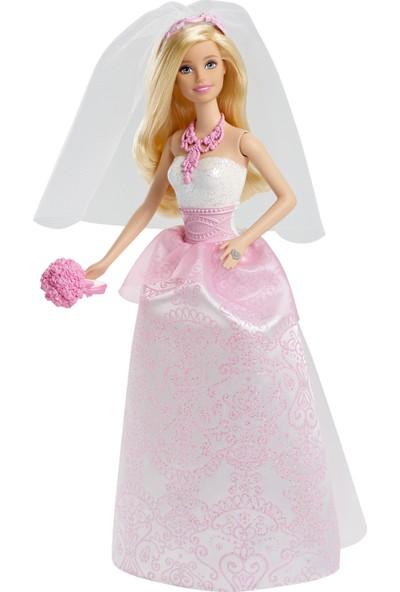 Barbie Gelin Bebek - Beyaz ve Pembe Elbiseli Gelin Buketi ve Duvak ile CFF37
