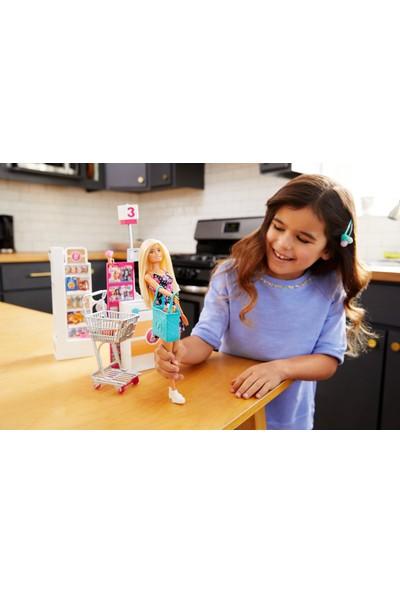 Barbie Süpermarkette Oyun Seti, Alışveriş Sepeti ve 25'ten Fazla Aksesuar Dahil FRP01