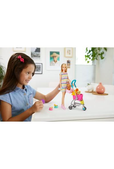 Barbie ve Köpekleri Geziyor Oyun Seti, Barbie Bebek, 2 Yavru Köpeği ve Evcil Hayvanlar İçin Pusetiyle GHV92