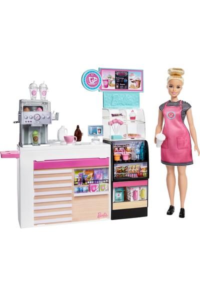 Barbie Kahve Dükkanı, 30 cm Sarışın Yuvarlak Hatlı Bebek ve 20'den Fazla Gerçekçi Oyuncak Figür GMW03