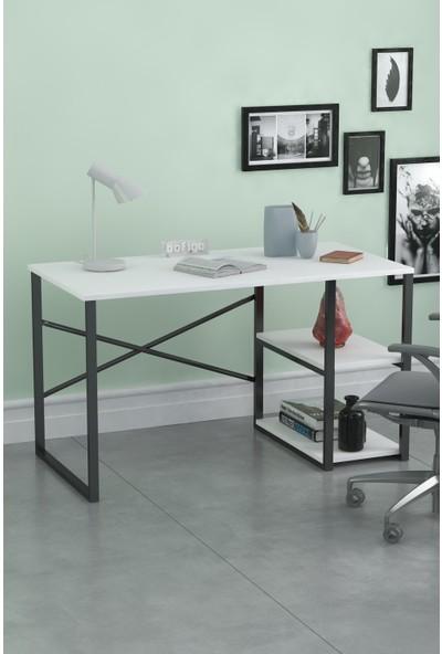 Noowa 2 Raflı Çalışma Masası Beyaz