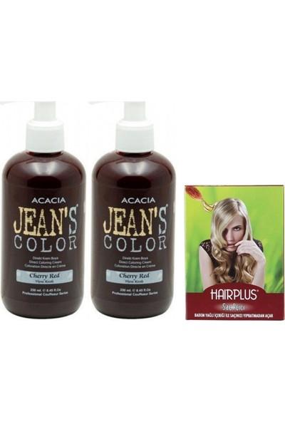 Acacia Jeans Color Saç Boyası Vişne Kızılı 250 ml 2adet ve Hairplus Saç Açıcı