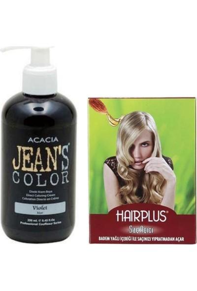 Acacia Jeans Color Saç Boyası Mor 250 ml ve Hairplus Saç Açıcı
