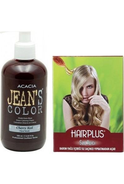 Acacia Jeans Color Saç Boyası Vişne Kızılı 250 ml ve Hairplus Saç Açıcı