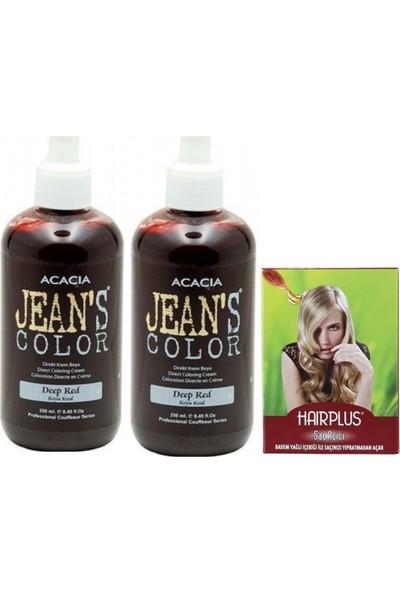 Acacia Jeans Color Saç Boyası Koyu Kızıl 250 ml 2adet ve Hairplus Saç Açıcı