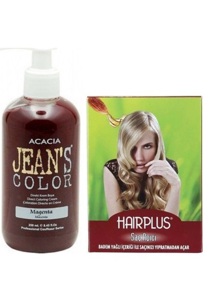 Acacia Jeans Color Saç Boyası Magenta 250 ml ve Hairplus Saç Açıcı