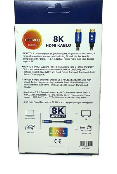 Hiremco 8k Ultra Hd HDMI Kablo - 1.5