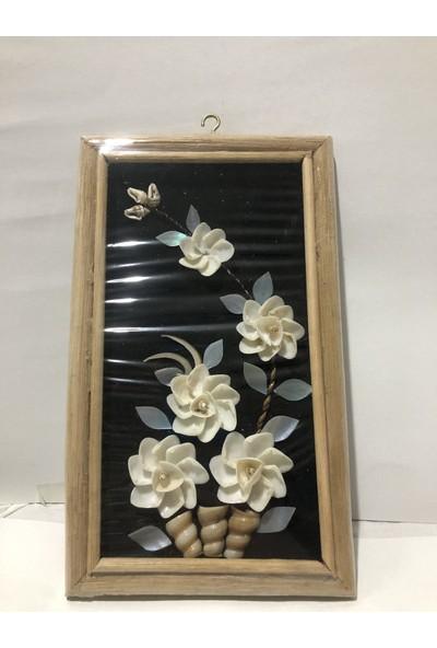 Kefelim Deniz Kabuğu Süslemeli Kamış Çerçeveli El Yapımı Çiçek Pano Duvar Süsü 12x25CM - DVS22