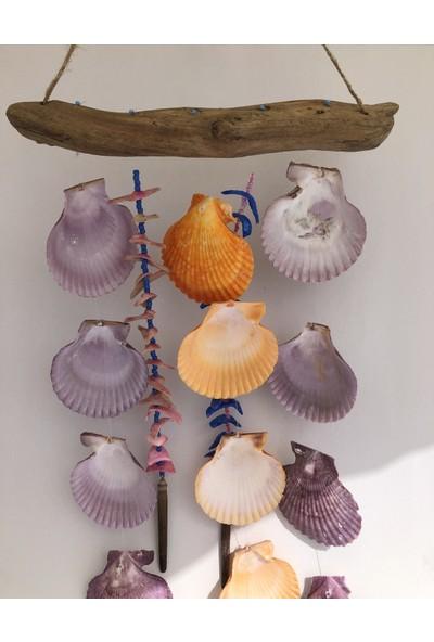 Kefelim Ağaç Dalı Gövdeli Renkli Deniz Kabuğu Sarkıtlı El Yapımı Rüzgar Çanı 35x45CM - RZG09