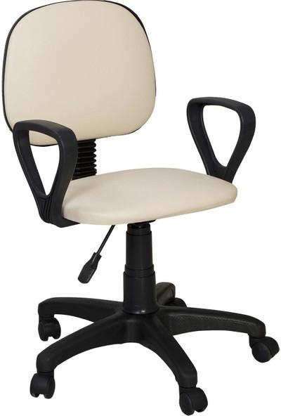 Remaks Ofis Sandalyesi Sekreter Koltuğu Bilgisayar Koltuğu Kollu Çalışma Taburesi Krem