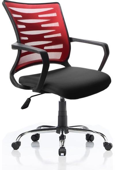 Remaks Rio Kırmızı/siyah Fileli Ofis Çalışma Koltuğu Bilgisayar Koltuğu Krom Ayaklı - Kırmızı/siyah